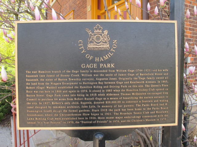 gage park historical plaque - Is it a sin to Blog about Gage Park without a picture of the Fountain?